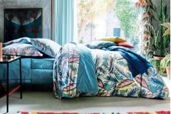 linge de lit DJAKARTA turquoise - BLANC DES VOSGES