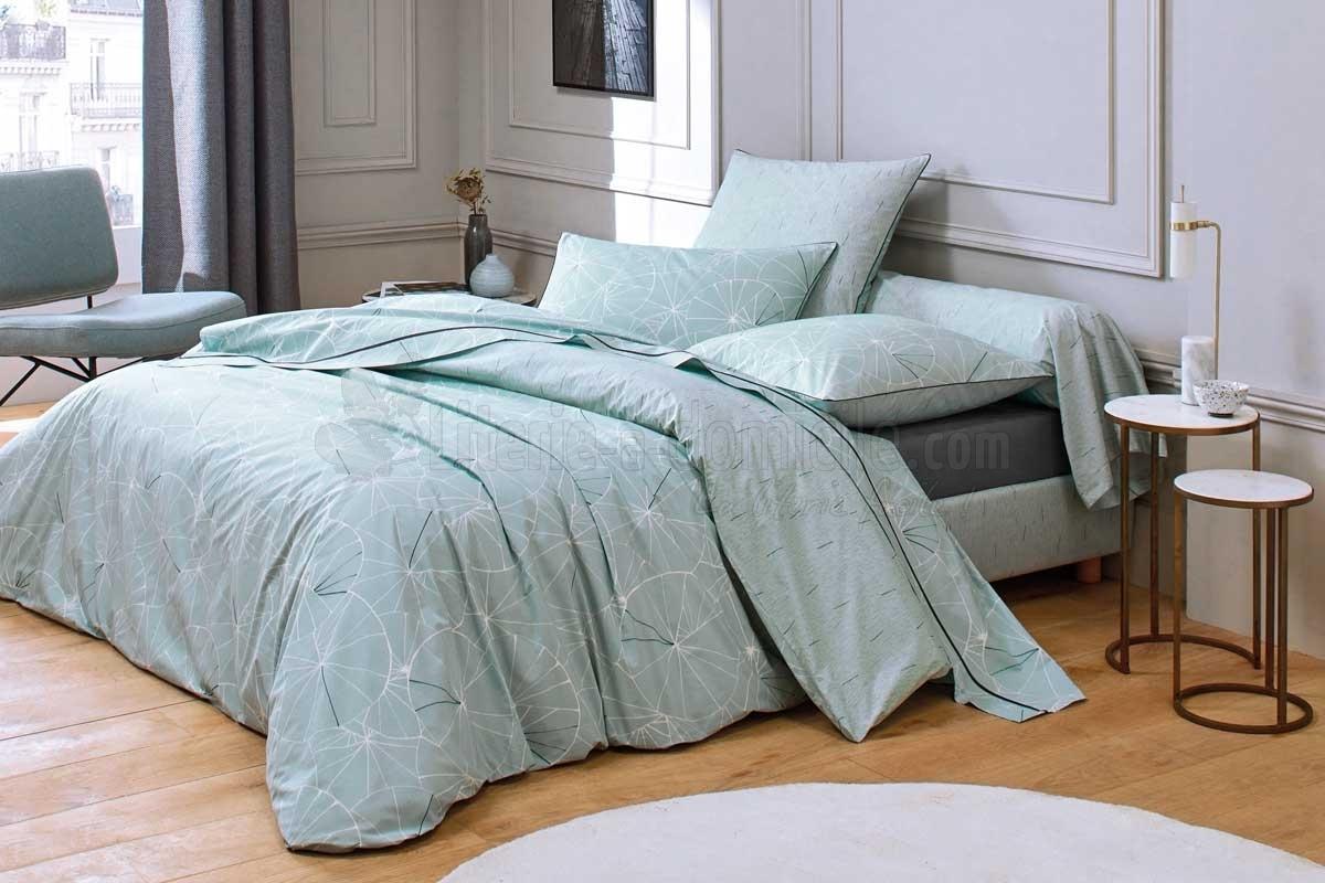parure de lit ombrelle aqua de blanc des vosges. Black Bedroom Furniture Sets. Home Design Ideas