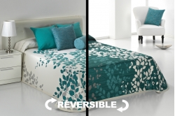 jeté de lit GEISHA bleu / naturel - réversible