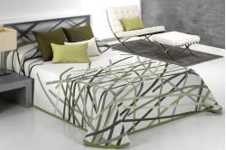 jeté de lit BASTIAN blanc/vert - réversible