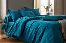 Parure de lit PALACE bleu paon - BLANC DES VOSGES