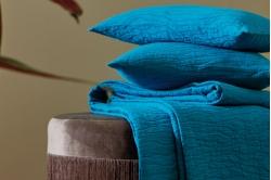 Coussin et plaid RACINES bleu paon - BLANC DES VOSGES