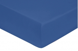drap housse coton percale BLEU ROYAL - 160 x 200 - bonnet...