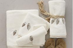 linge de bain WILD crème hiboux brodés - SYLVIE THIRIEZ