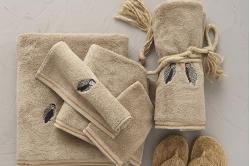 linge de bain brodé hiboux WILD taupe - SYLVIE THIRIEZ