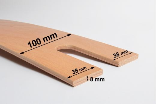 LATTE de sommier 100 x 8 mm zone épaules à enfourchement - cintrée