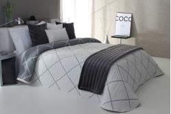 jeté de lit DAMIR gris / blanc - réversible