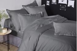 Linge de lit uni graphite SATIN DE COTON - TRADILINGE