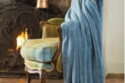 Plaid MELLOW bleu orage -TOISON D'OR
