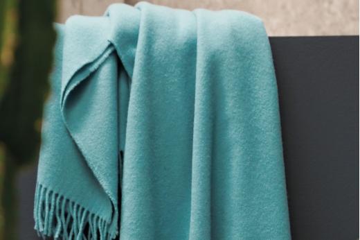 Blanc des Vosges Cuba Plaid Laine//M/érinos Turquoise 170 x 130 cm