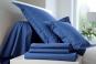drap housse grand bonnet UNI COTON PERCALE soft - BLANC DES VOSGES (bleu royal)