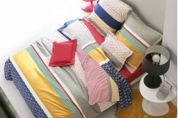parure de lit coton percale SAINT MALO rubis - FRANCOIS HANS